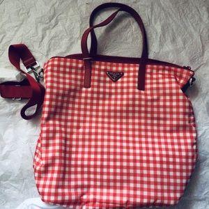 6b21106b15d2 Prada Bags | Textured Gingham Shell Tote | Poshmark